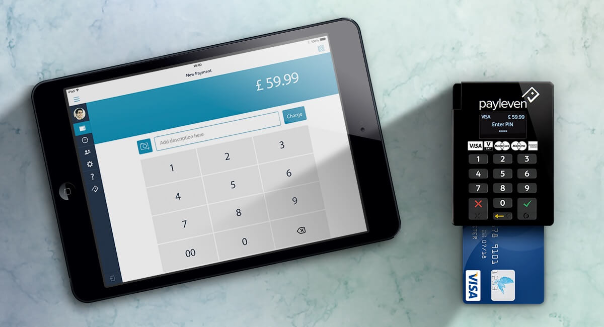 Payleven card reader with app on iPad