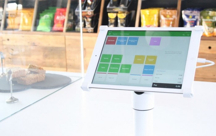 Vend POS on iPad placed in tablet stand on countertop