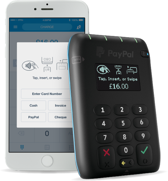 PayPal Here UK contactless card reader with app on an iPhone