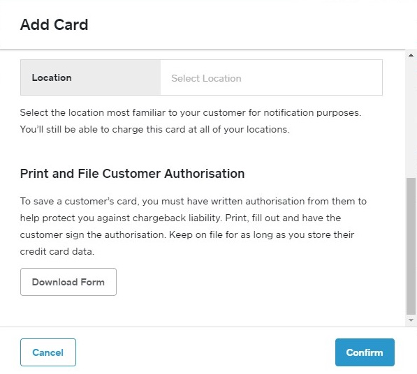 saving card details in Square