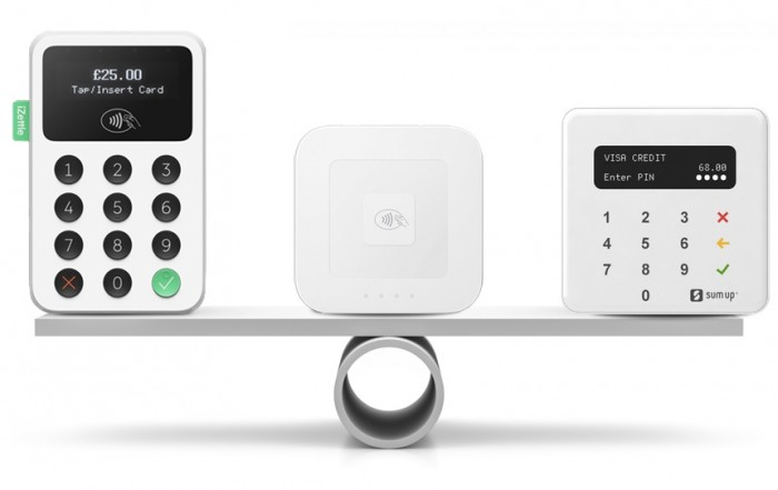 iZettle Reader 2, Square Reader and SumUp Air on a balancing scale