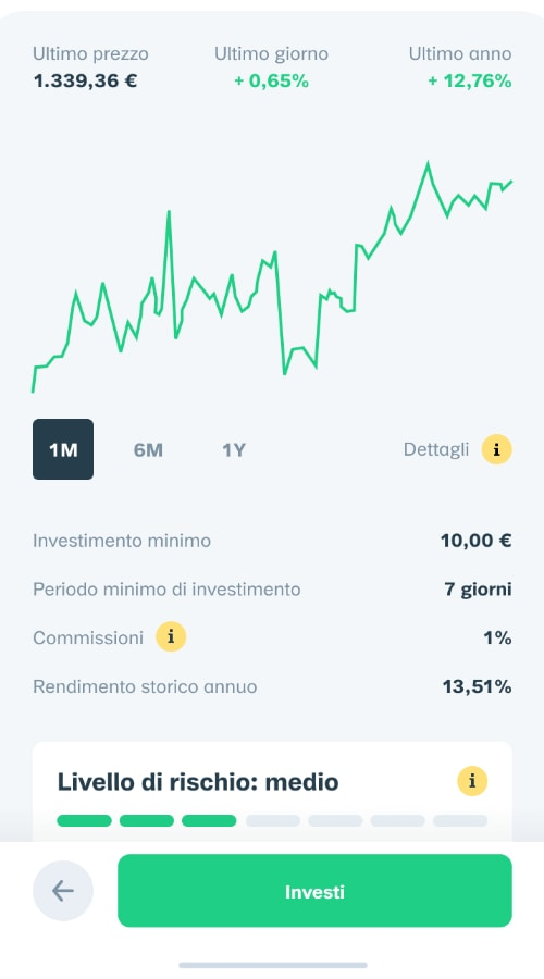 Schermata investimenti dell'app Oval Pay